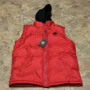 Beverly Hills Polo Club red hooded puffer vest NWT